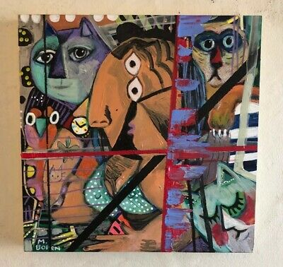 Melissa Bollen Cubist Woman Cat Original Oil Painting On Wood Bird Picasso