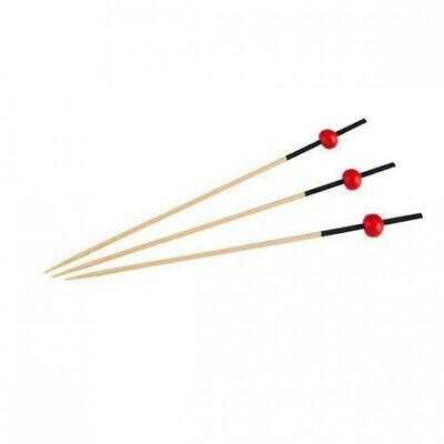 1200 x Disposable Bamboo Skewer Black & Red 120mm Catering Functions Party
