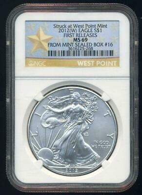 2012(W)  American Silver Eagle First Releases NGC MS69 from Mint Seal box #16