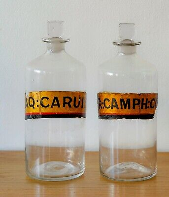 Pair of Vintage French Apothecary Jars with Gilded Lettering