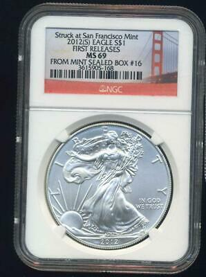 2012(S)  American Silver Eagle First Releases NGC MS69 from Mint Seal box #16