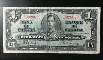 1937 Bank Of Canada  ($1.00 ) One Dollar Banknote Coyne Towers