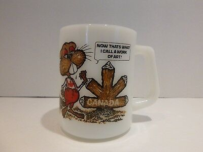 Vintage Federal Milk Glass CANADA Maple Leaf Beaver Coffee Tea Cup Mug