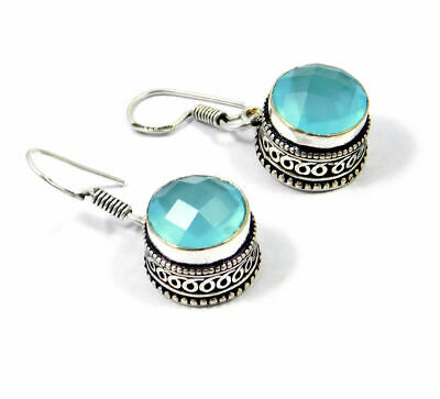 Charming Chalcedony Quartz Silver Carving Earrings Jewelry JC9218