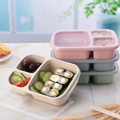 Lunch Food Storage Box with 3 Compartments for Lid Kid Bento Case Container Sets