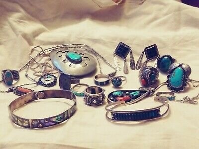Vintage Lot Of Fantastic Antique Sterling Silver Native American, Mexico Jewelry