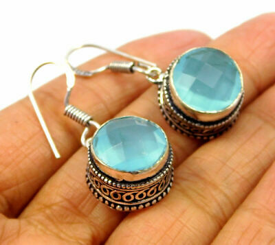 Charming Chalcedony Quartz Silver Carving Designer Earrings Jewelry JC9207