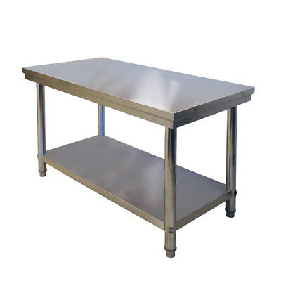 1200/600/800mmH 304 Reinforced Steel Kitchen Bench Workbench Prep Table Home