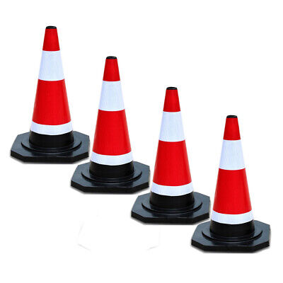 4x Traffic Cone 450mm Reflective Red & White Stripes Small Safety Cones Rubber