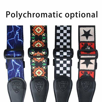 Polyester Vintage Acoustic Electric Guitar Strap for Electric Acoustic Bass GN