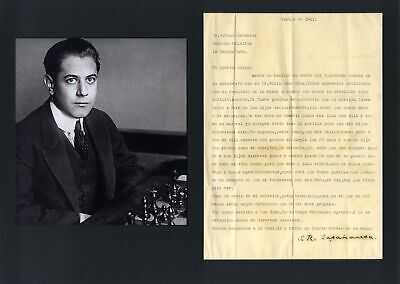 Jose Raul Capablanca CUBAN CHESS CHAMPION autograph, typed letter signed & mount