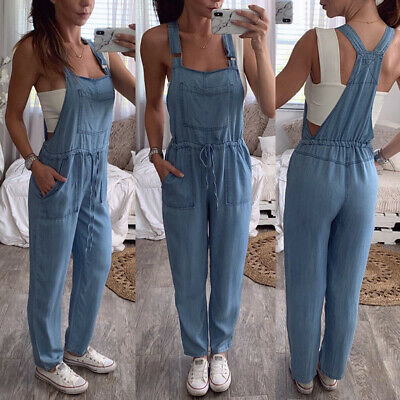Womens Strappy Denim Dungarees Ladies Loose Fit Overalls Jumpsuits Bib Pants