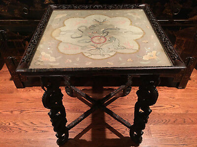 A Rare Qing Dynasty Carved Wooden Tea Table with Kesi Panel Top.