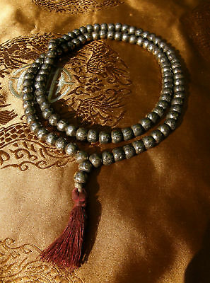 Very Beautiful Mala from Silber-Beads from Nepal with Mantra Om Mane Padme Hum