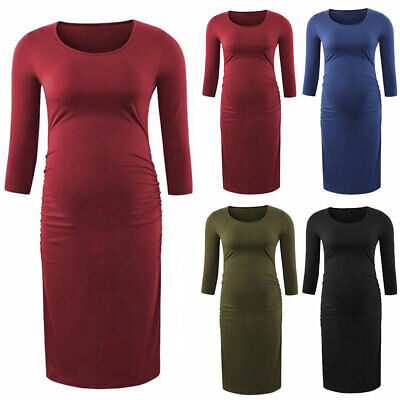 Womens Maternity Midi Dress Long Sleeve Crew Neck Pregnancy Solid Casual Dresses