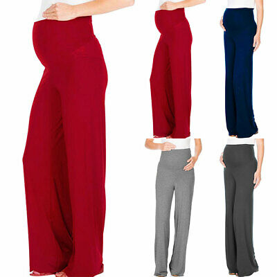 Womens Maternity Solid Trousers Pregnancy Casual Wide Leg Loose Stretchy Pants