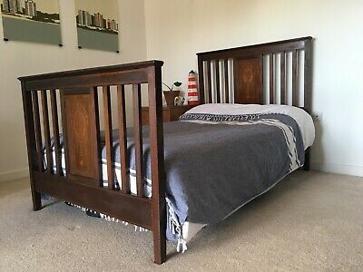 Stunning Edwardian 3/4 Solid Wood Double Bed Frame with Intricate Marquetry