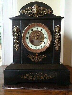 Black Slate 14 day Mantel Clock Open Escapement French Movement Working