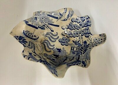Antique Large Blue Willow Pickle Dish circa 1830