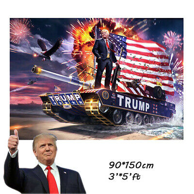 3'x5'FT Trump President 2020 Tank Flag Keep America Great Banner with Grommets
