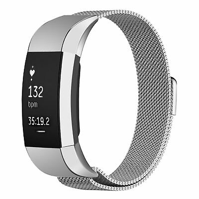 Stainless Steel Wrist Band For FitBit Charge 2 Magnetic Loop Watch Metal Strap