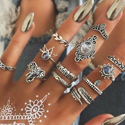 Elephant Leaves Feather Rhinestone Joint Knuckle Nail Ring Set of 12 Rings C