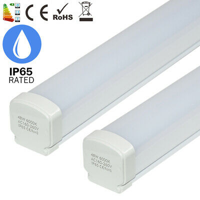 2x 48W 4FT IP65 SMD LED Trip-proof Ceiling Batten Tube Light Daylight Wall Lamp
