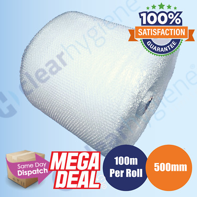 500MM x 100M SMALL BUBBLE WRAP ROLL PROTECTIVE QUALITY BUBBLE 100 METERS LONG