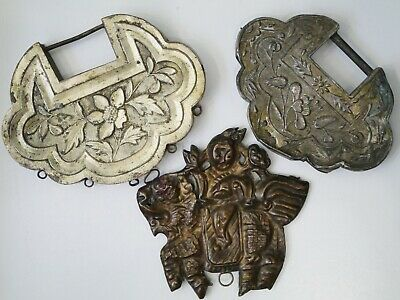 3 Antique Chinese Qing Dynasty Silver & Copper Symbolic Locks, Flowers & Kylin
