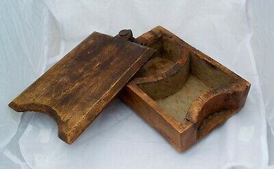 Unusual Antique Oak Box Carved from 1 Piece of Wood, 2 Compartments Slide Lid