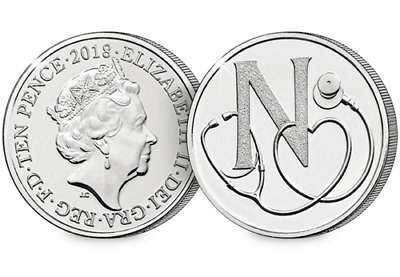 N - NHS 10p TEN PENCE COIN LETTER N - NHS   ROYAL MINT UNCIRCULATED COIN 2018