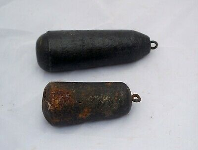 2 Antique Grandfather Clock Weights Solid Cast Iron Weights 1lb 13oz & 1lb 2oz