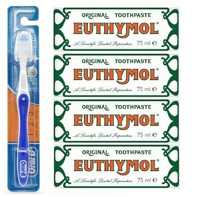 Euthymol Original Antiseptic Toothpaste 75ml - 4 Pack + Free Toothbrush