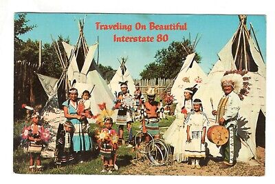 Indian Family Traveling On Beautiful Interstate 80 Vintage Postcard AN55