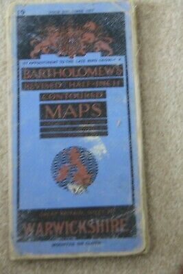 "Bartholomew's Cloth ""Half-Inch"" Contoured Map. Sheet Number 19 WARWICKSHIRE"