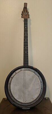 Antique French Banjolin Mandolin Banjo Hybrid Instrument Marquetry Body as is