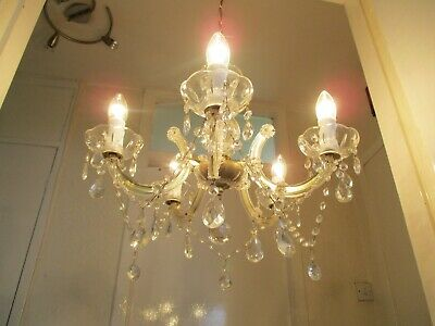 Beautiful Vintage Glass And Crystal Chandelier