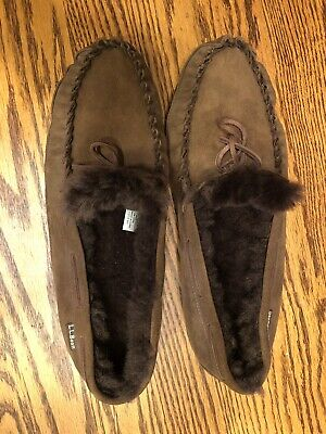 06ed6acb73b24 LL BEAN MOCCASIN Slippers Brown Leather Red Flannel Lined size 10 ...