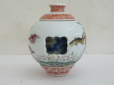 Tabatiere Porcelaine Chine A Systeme Erotique Chinese Snuff Bottle Erotic Marked