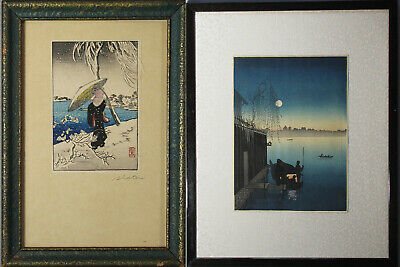 A Three Japanese Woodblock prints by Shotei and Eijiro and unidentified Printer