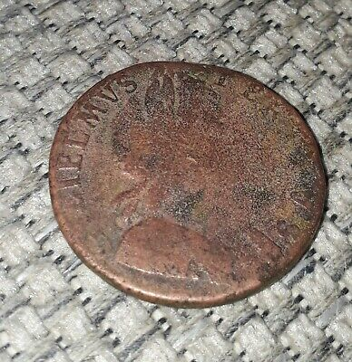 Rare 1697 William Iii British Half Penny Copper Coin