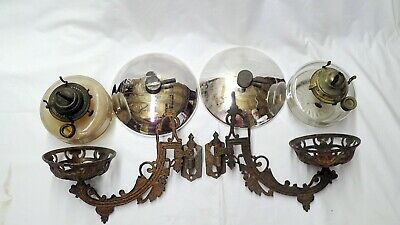 Pair Of Antique Cast Iron  Oil Lamp Holders W/ Wall Mount, Brackets & Reflectors