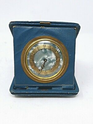 Antique German Made Folding Travel Alarm Clock In Leather Mother of Pearl Blue