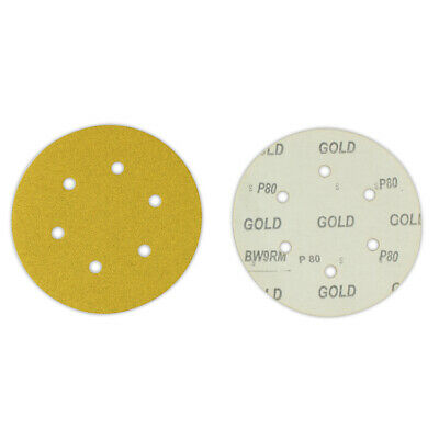 "100 Pack - 6"" Inch 6 Holes 60 Grit Hook & Loop Sanding Discs Orbital DA Disks"