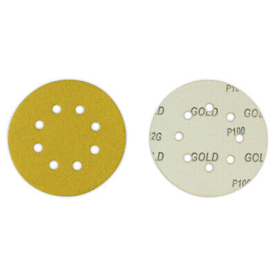 "100 Pack - 5"" Inch 8 Holes 80 Grit Hook & Loop Sanding Discs Orbital DA Disks"
