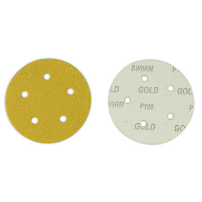 "100 Pack - 5"" Inch 5 Holes 40 Grit Hook & Loop Sanding Discs Orbital DA Disks"