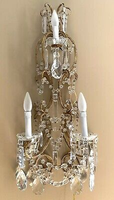 PAIR Antique Italian Crystal Macaroni Beaded Wall Sconces Chandeli 3 light 29""