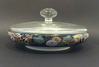 Arita Japanese Glass Lidded Bowl Vintage Floral Blue Red Gold Candy dish