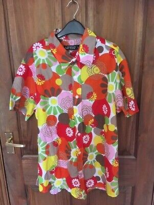 Mens bright floral loud short sleeved shirt VGC L large stag vibrant hippie