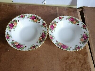 """2 Royal Albert Old Country Roses Rimmed Soup Bowl 8"""" 1st Quality Original 1962"""